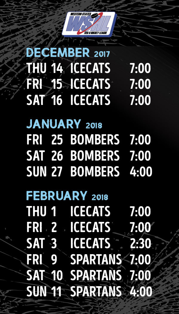 Icemen Hockey Home Game Schedule 2017-18